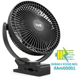 OPOLAR 10000mAh 8 inch USB&Rechargeable Clip on Fan Personal