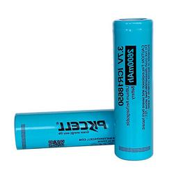 2 18650 3.7V Lithium Rechargeable Batteries 2600mAh Flat Top