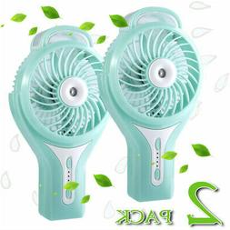 2Pack Rechargeable Handheld USB Mini Cooling Misting Fan Per