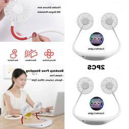 2pcs portable usb neck hanging cooling fan
