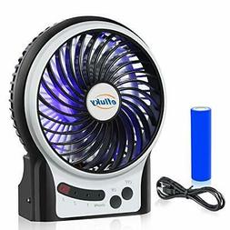 efluky 3 Speeds Mini Desk Fan, Rechargeable Battery Operated