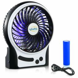 efluky 3 Speeds Mini Desk Fan Rechargeable Battery Operated