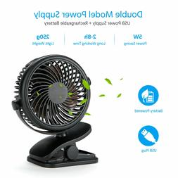 3 Speeds USB Rechargeable Mini Cooling Fan Clip On Desk Stro