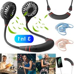 3in1 Portable USB Rechargeable Neckband Lazy Neck Hanging Sp