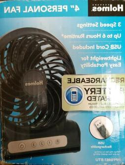 """Holmes 4"""" Personal Fan Rechargeable Battery Operated - Black"""
