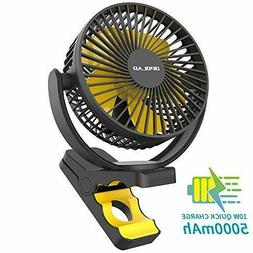 OPOLAR 5000mAh Rechargeable Battery Operated Clip On Fan USB