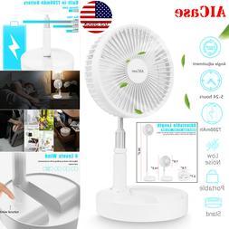 "7"" Adjustable Pedestal Fan Stand Floor USB Rechargeable 4 Sp"
