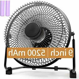 Battery Operated Fan, 9 Inch Camping Fans Rechargeable, 5200