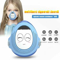 Children Smart Mask with Electric Fan that Blows Filtered Ai