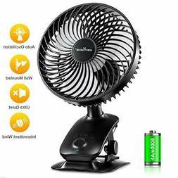 KEYNICE Clip on Fan, 5000mAh Rechargeable Battery Operated D