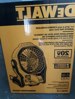 "DEWALT DCE511B 20V MAX 11"" Cordless/Corded Jobsite Fan new f"