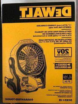 """Brand New 11"""" Dewalt Dce511b Cordless Corded Jobsite Fan 20v"""