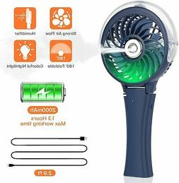 Handheld Portable Steamer Cooling Fan Colorful Battery Opera
