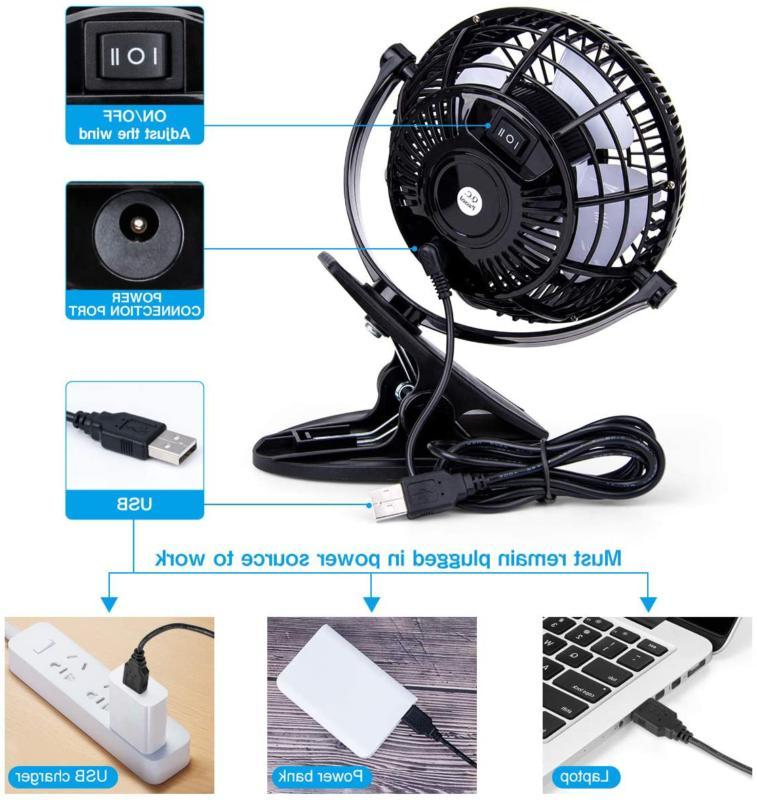 2 Speeds USB Mini Cooling On Desk 360° Portable