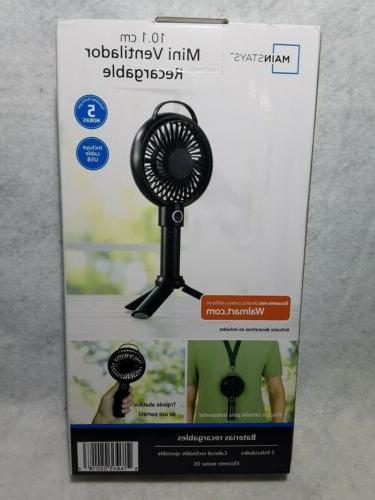 4 inch black portable rechargeable fan by