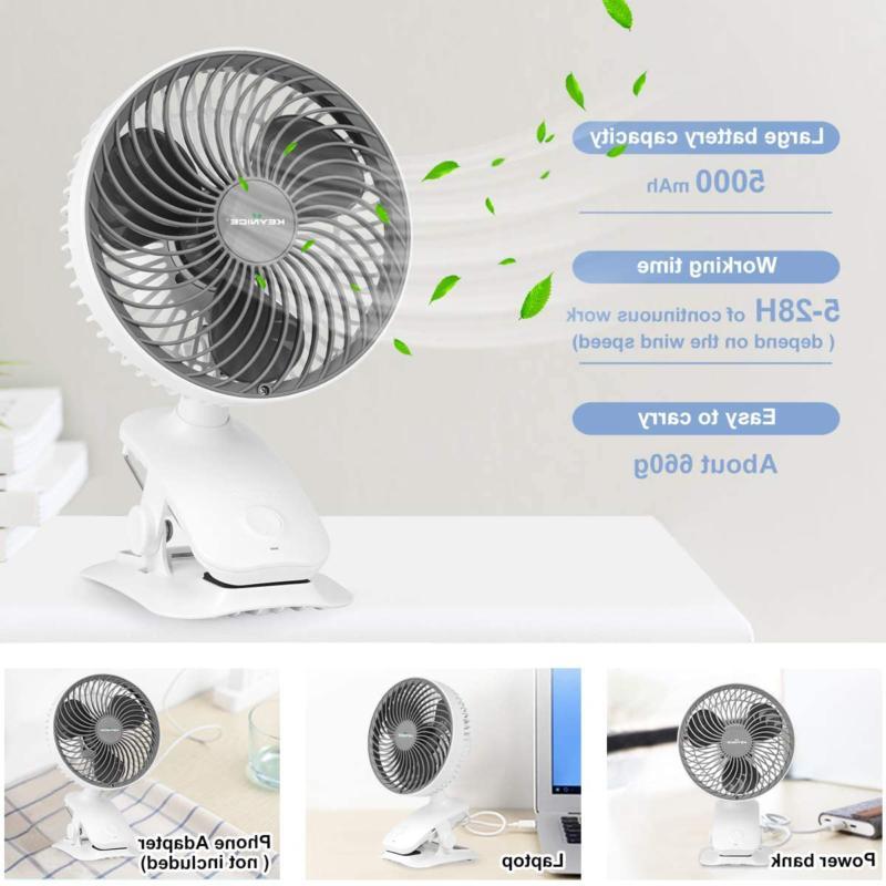 KEYNICE on 5000mAh Rechargeable Desk Fan,