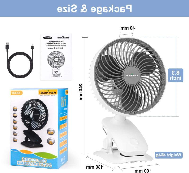 KEYNICE Fan, 5000mAh Rechargeable Desk Oscill