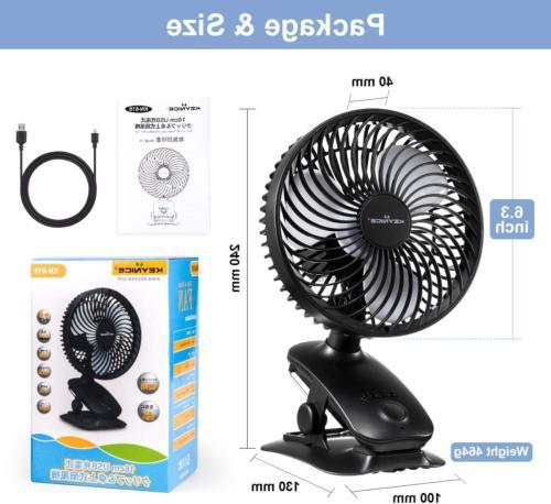 Clip 5000mAh Rechargeable Battery Operated Desk Fan