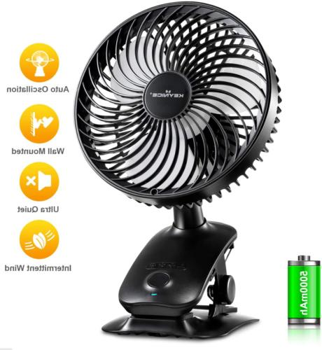 clip on fan 5000mah rechargeable battery operated