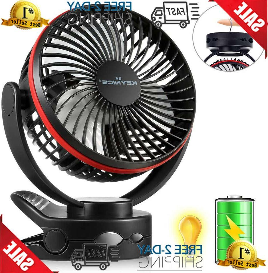 keynice clip fan with night light usb