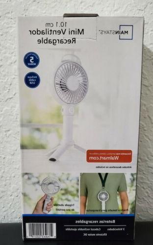 mainstay rechargeable fan in white