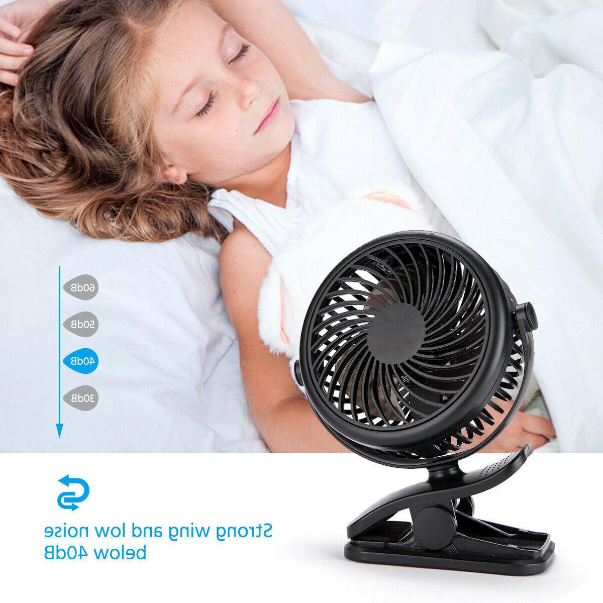 3 Rechargeable Mini Cooling Fan Clip On Desk Portable