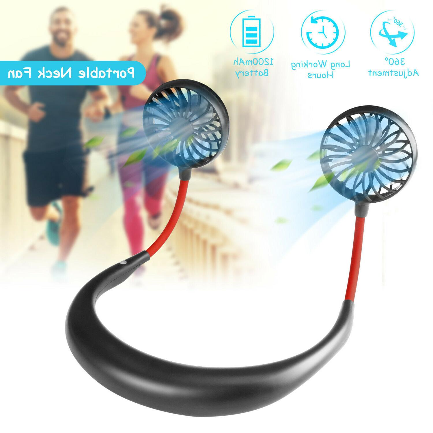 portable usb rechargeable neckband neck hanging dual