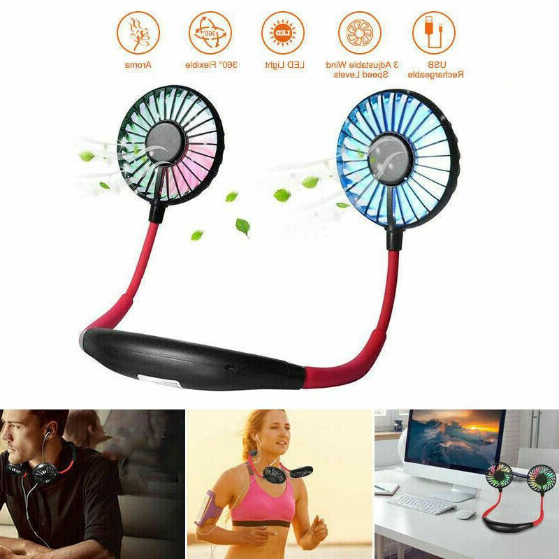 sport usb rechargeable neckband cooling mini fan