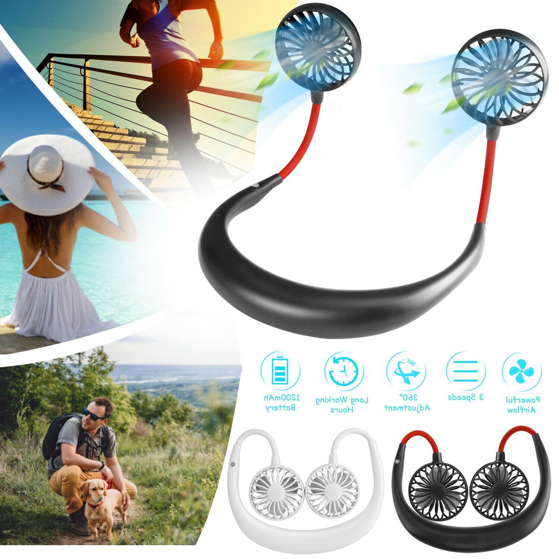portable usb rechargeable neckband sport fan lazy