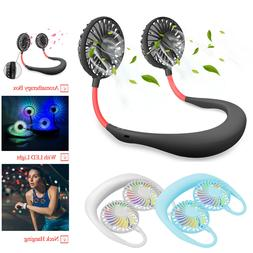 LED Portable USB Rechargeable Neck Hanging Fan Hands Free Of
