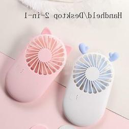 Lovely Mini Fan USB Rechargable Cooling Fan Handheld Portabl