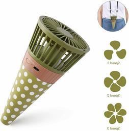 Mini Portable Fan Necklace Fan Rechargeable Ice Cream Cone P