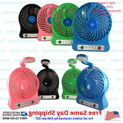 Portable 2 in 1 Mini USB Fan with LED light with 2200 mAh Re