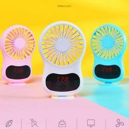 Portable Creative Desktop Fan with Clock USB Rechargeable Ha