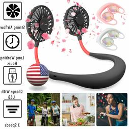 Portable Dual Cooling Mini Sport Fan USB Rechargeable Neckba