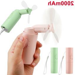 Portable Mini Fan USB Rechargeable 2000mAh Power Bank Foldab