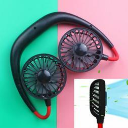 Portable Neckband Dual Cooling Mini Fan USB Rechargeable Laz