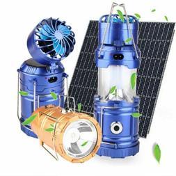 Portable Solar Power Led Light Rechargeable Tent Lantern Fan
