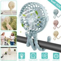 Portable USB Rechargeable Handheld Fan Clip-on Desk Octopus