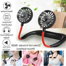 Portable USB Rechargeable Fans Lazy Hands Hanging Neck Coole