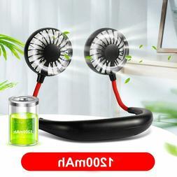 Portable USB Rechargeable Neckband Cooling Mini Fan Neck Han