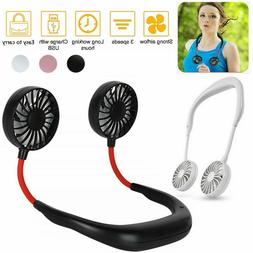 Portable USB Rechargeable Neckband Dual Cooling Mini Fan Laz