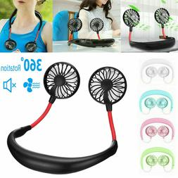 Portable USB Rechargeable Neckband Lazy Neck Hanging Dual Co