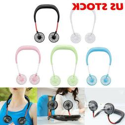 Rechargeable Mini USB Fans Neckband Lazy Wireless Dual Coole