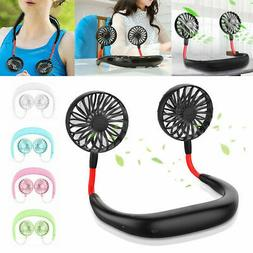 US Portable USB Rechargeable Lazy Fan Hanging Neck Mini Cool