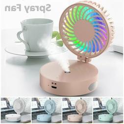 USB Rechargeable Mini Portable Handheld Desk Mist Spray Fan