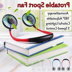 USB Rechargeable Mini Sport Fan Portable Dual Cooling Neckba