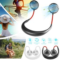 USB Rechargeable Neckband Sport Fan Lazy Neck Hanging Dual C