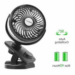 """USB Rechargeable Oscillating Mini Fan 8"""" Clip On Desk Fan 50"""